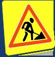 Временные дорожные знаки на желтом фоне