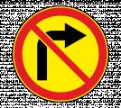 Дорожный знак 3.18.1 Поворот направо запрещен (Временный)