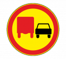 Дорожный знак 3.22 Обгон грузовым автомобилям запрещен (Временный)