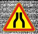 Временный дорожный знак 1.20.1 «Сужение дороги»