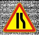 Временный дорожный знак 1.20.2 «Сужение дороги»