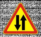 Дорожный знак 1.21 Двустороннее движение (Временный)