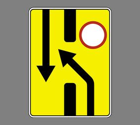 Информационный дорожный знак 6.19.1 Пpeдвapитeльный укaзaтeль пepecтpoeния нa дpугую пpoeзжую чacть - Фото 1