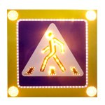 """Светодиодный дорожный знак 5.19.1 """"Пешеходный переход"""" на желтом фоне 900х900, 4 стробоскопа - Фото 1"""