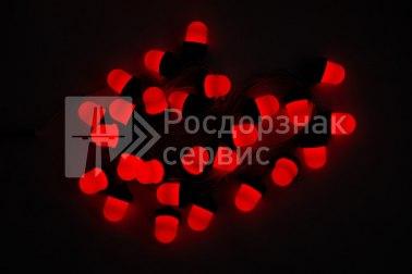 Гирлянда светодиодных фонарей ФС-12 «желудь» красная - Фото 2