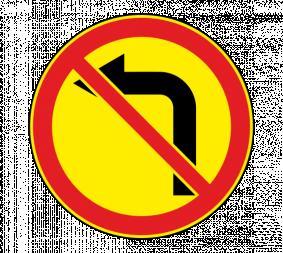 Дорожный знак 3.18.2 Поворот налево запрещен (Временный) - Фото 1