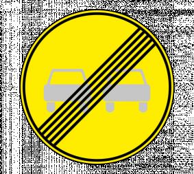 Дорожный знак 3.21 Конец запрещения обгона (Временный) - Фото 1