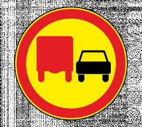 Дорожный знак 3.22 Обгон грузовым автомобилям запрещен (Временный) - Фото 1