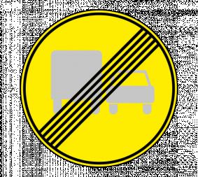 Дорожный знак 3.23 Конец запрещения обгона грузовым автомобилям (Временный) - Фото 1