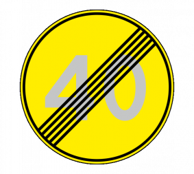 Дорожный знак 3.25 Конец ограничения максимальной скорости (Временный) - Фото 1