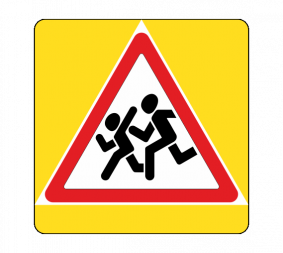 Дорожный знак 1.23 Дети с желтой окантовкой - Фото 1