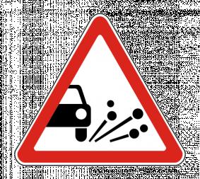 Дорожный знак 1.18 Выброс гравия - Фото 1