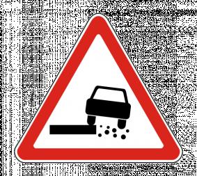 Дорожный знак 1.19 Опасная обочина - Фото 1