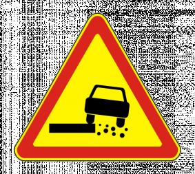 Временный дорожный знак 1.19 «Опасная обочина» - Фото 1