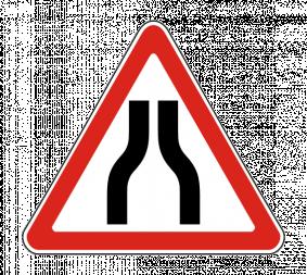 Дорожный знак 1.20.1 Сужение дороги - Фото 1