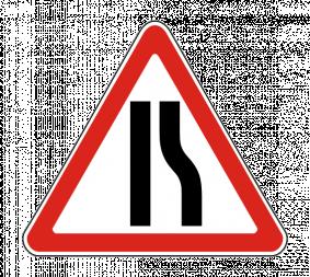 Дорожный знак 1.20.2 Сужение дороги - Фото 1