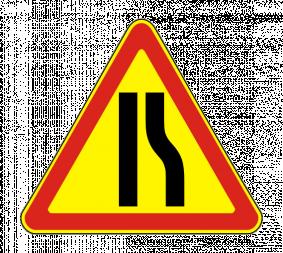 Временный дорожный знак 1.20.2 «Сужение дороги» - Фото 1
