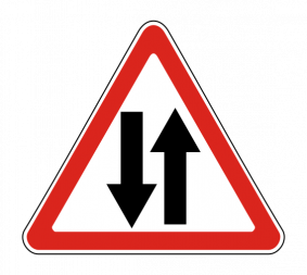 Дорожный знак 1.21 Двустороннее движение - Фото 1
