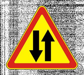 Дорожный знак 1.21 Двустороннее движение (Временный) - Фото 1