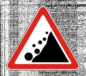 Дорожный знак 1.28 Падение камней - Фото 1