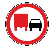 Дорожный знак 3.22 Обгон грузовым автомобилям запрещен - Фото 1