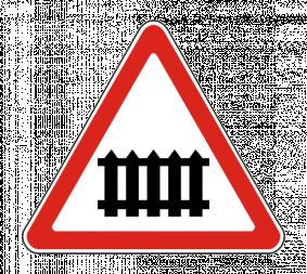 Дорожный знак 1.1 Железнодорожный переезд со шлагбаумом - Фото 1