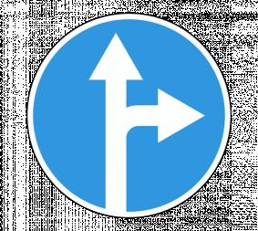 Дорожный знак 4.1.4 Движение прямо или направо - Фото 1